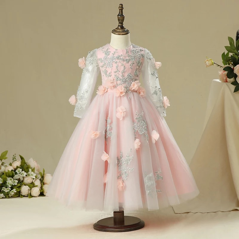 2017 New Luxury Children Girls Appliques Flowers Princess Birthday Wedding Party Dress Kids Babies Ball Gown Lace Pageant Dress