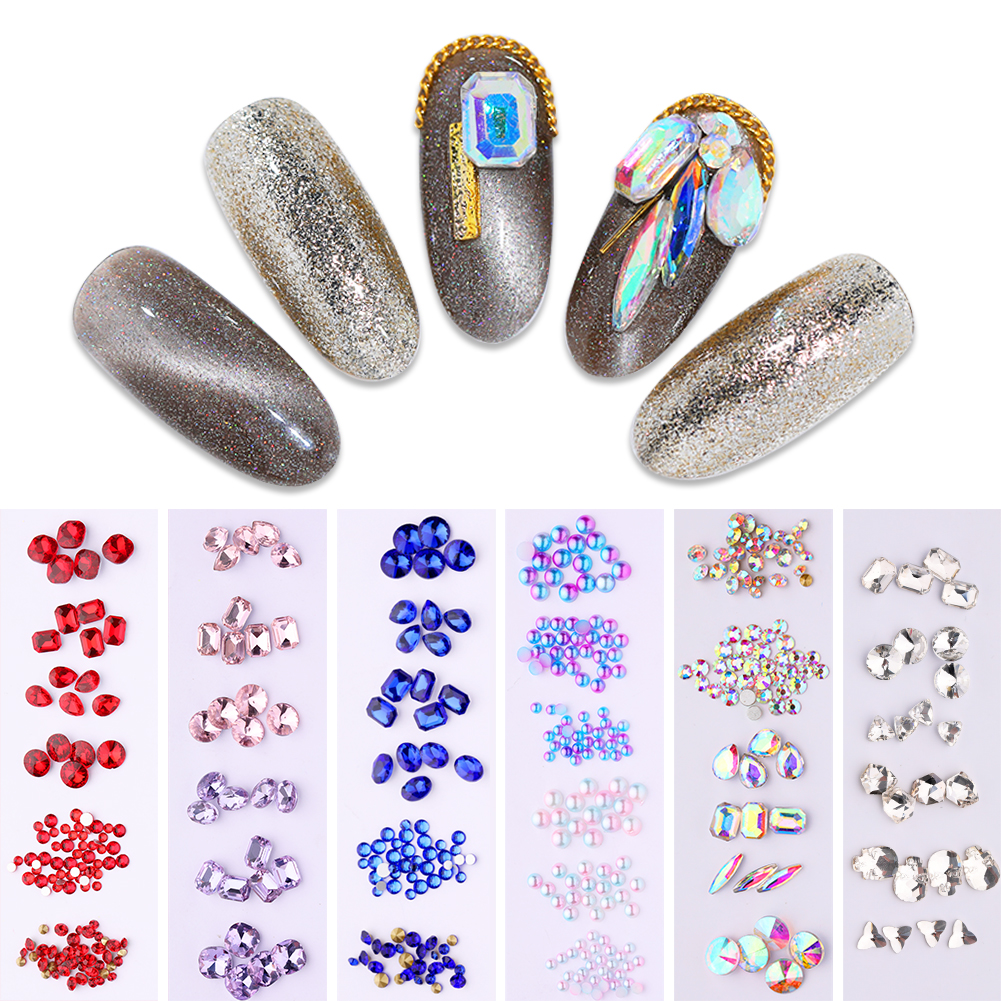 Nail Rhinestones Beads AB Color For Nail Art Multi Size