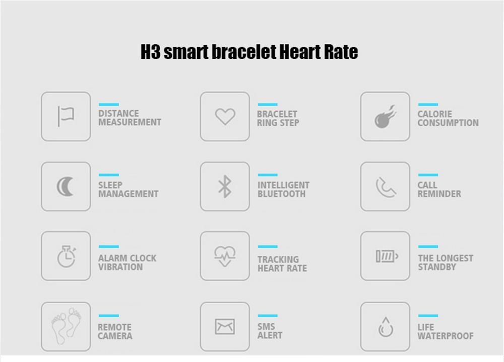 MOCRUX Smart Wristband Bracelet H3 Smartband IP68 Waterproof Heart Rate Monitor FitnessActivity Tracker Smart Watch Call Alarm  (3)