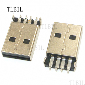 10Pcs High Quality USB 2.0 Jack A Type Male Plug Connector USB jack 180 Degree 4PIN Sink SMT 2Feet DIP Cable Soldering