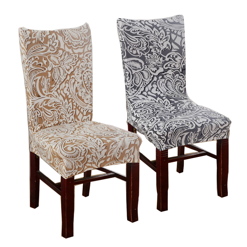 1 Piece Plum Chair Covers Cheap Jacquard Stretch For Dining Room Decoration Short Half Machine Washable V55C