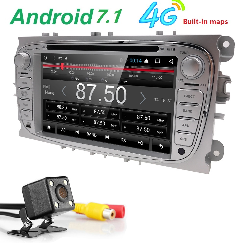 quac core Pure Android 7.1Car DVD Navigation for Ford Mondeo S-Max C-max Focus rear-view camera DVR 4G dongle OBD2 DAB+MAP CAM