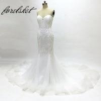 Luxury Crystal Wedding Dresses 2017 Mermaid Wedding Dresses Bridal Gown Soft Tulle Hand Made Beading Sweetheart