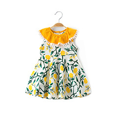Value-added girls'dress summer 2019 new Korean version ins pop-up European and American style foreign trade woven Princess Dress image