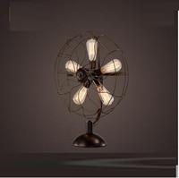 LOF fan retro table lamp American nostalgic Nordic industrial wind living room coffee restaurant bedroom bedside bar CL