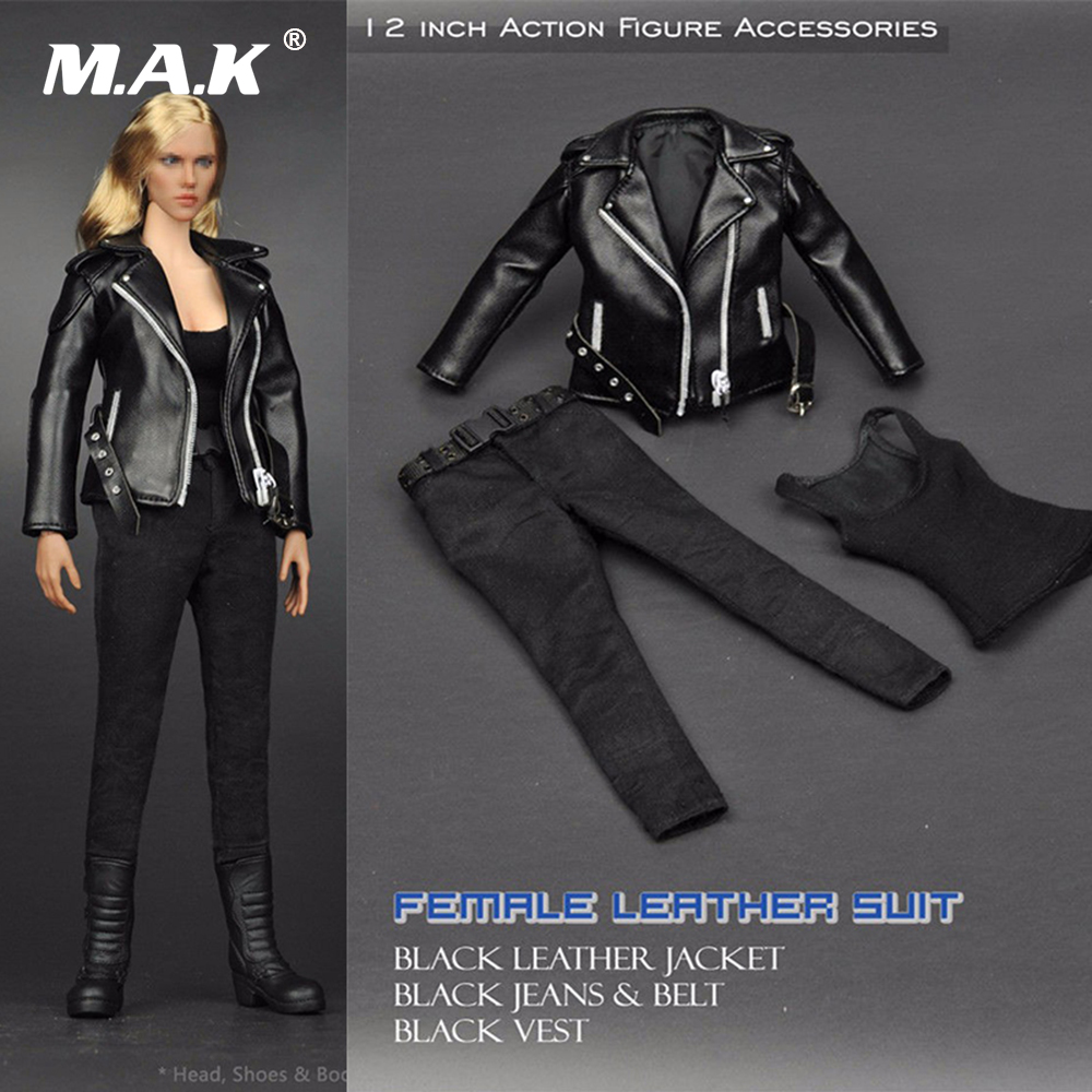 1:6 Scale Female Clothes T-800 1/6 Women Cool Black Leather   Jacket Suit for 12 inches Action Figure Toys Accessories cool bloody knife tricky toys black grey