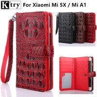 K Try For Xiaomi Mi 5x Case Mi A1 Cover Flip Luxury Fashion PU Leather Fundas