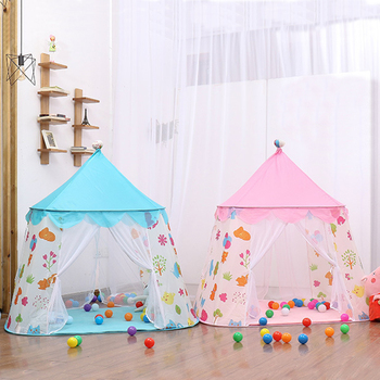 Tienda Tipi portátil rosa azul para niños con impresión de Castillo tienda de interior al aire libre plegable Casa Grande bebé sueño juguetes de habitación tienda para niños
