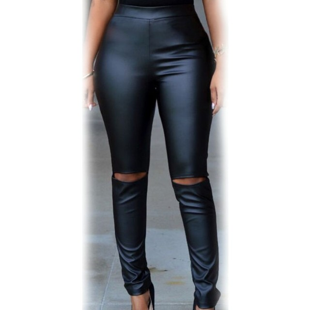 Hot sale 2017 black pu fabric faux leather leggings high waist cut-out knee sexy female pants women clothing A79799