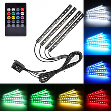 4pcs/set RGB 12LED Car Interior Neon Atmosphere Strip Light Colorful Decorative Lamp With Music Remote Control DC 12V 4pcs wireless remote control interior floor foot decoration light 12led car interior atmosphere rgb neon decorative lamp