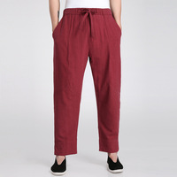 Burgundy Traditional Chinese Men's Kung Fu Trousers Cotton Linen Tai Chi Pants Wu Shu Clothing S M L XL XXL XXXL WNS031806
