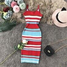 Robe Femme Sweater Sheath Midi-Dress Spaghettic-Strap Club Ete Rainbow Striped-Print