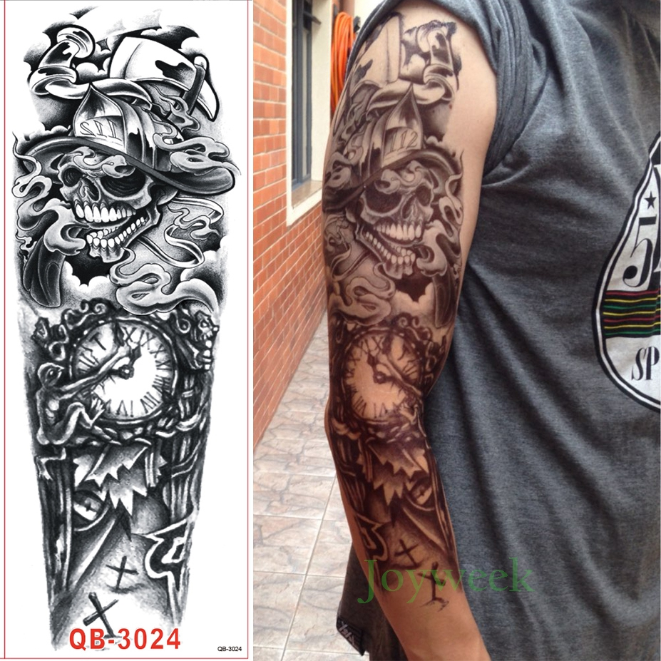 84c4ced2f Waterproof Temporary Tattoo Sticker Full Arm Large Skull Old School ...