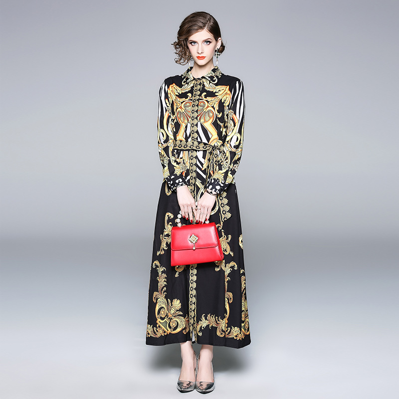 Banulin New 2018 Runway Brand Shirt Maxi Dress Women 39 s Long sleeve Elegant Belt Vintage Palace Floral Print Long Party Dresses in Dresses from Women 39 s Clothing