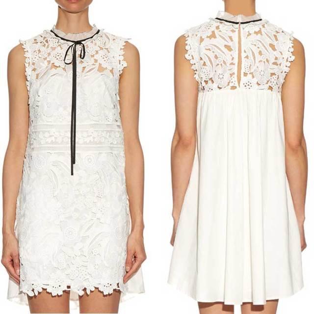 Boho Inspiré guipure dentelle robe blanc watteau retour col jabot noir  ruban cravate femmes summer party 86fdf3dbe1ee