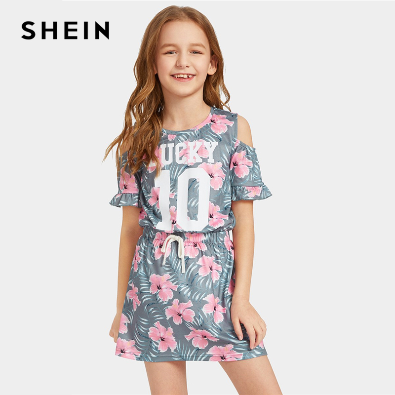SHEIN Kiddie Floral Print Cold Shoulder Drawstring Waist Ruffle Girls Boho Dress 2019 Summer Short Sleeve Teenager Cute Dresses girls floral lace insert swing dress