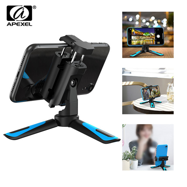 APEXEL 360 Rotation Camera Tripod Portable Stretch Handheld Tripod With Bluetooth Mobile Phone Clip For Gopro xiaomi iPhone