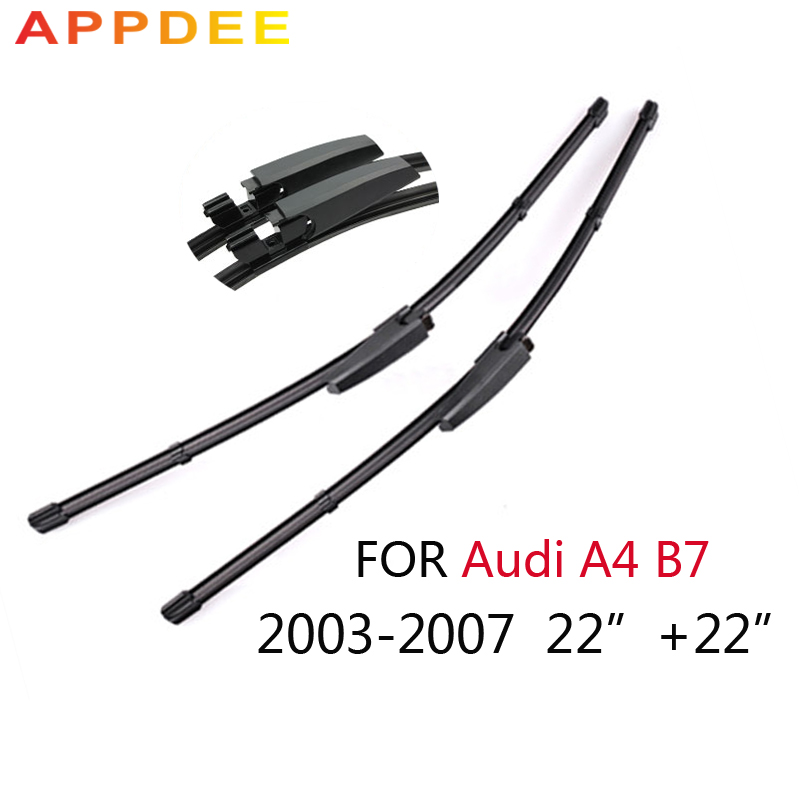 appdee 22''+22'' Wiper Blades For Audi A4 B7 2004 2005 2006 2007 2008 High-Quality Rubber Windscreen Car Accessories wiper blades for chevry tahoe 22