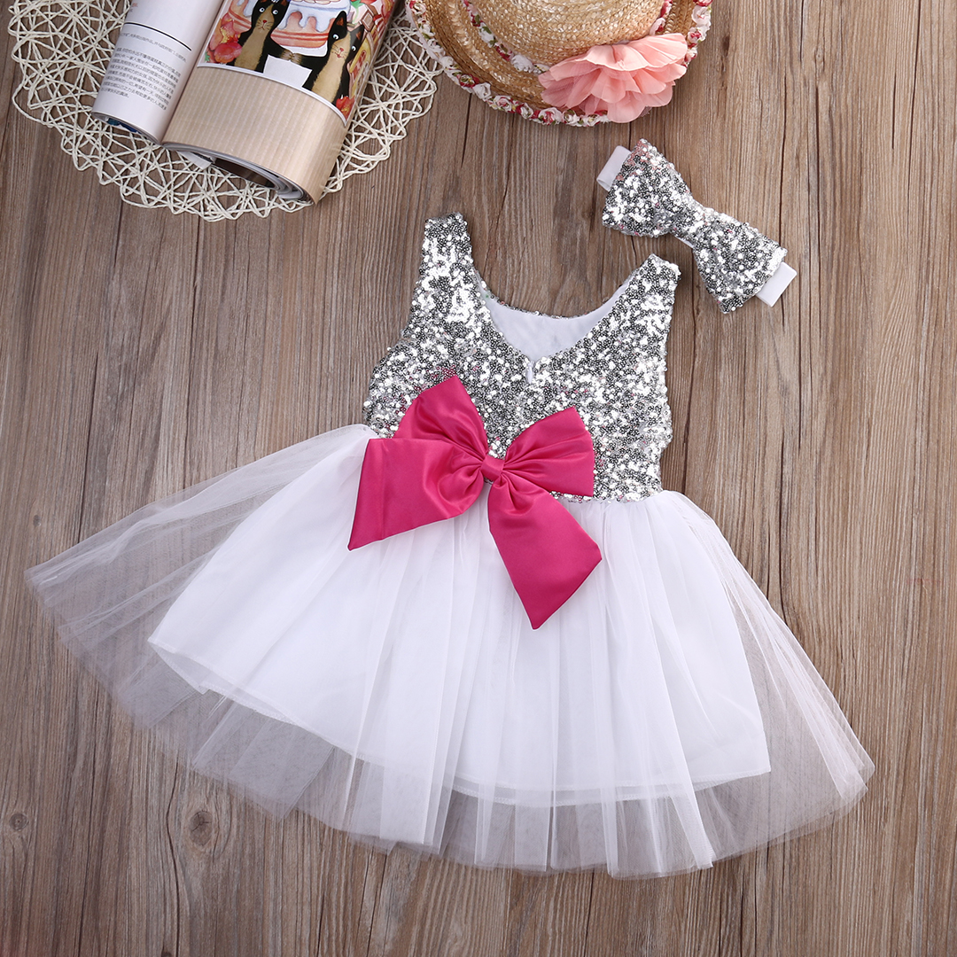 Baby Kids Girls Princess Dress Sequined Wedding Gown Party Pageant Princess Dresses Tutu Tulle Dresses Headwear