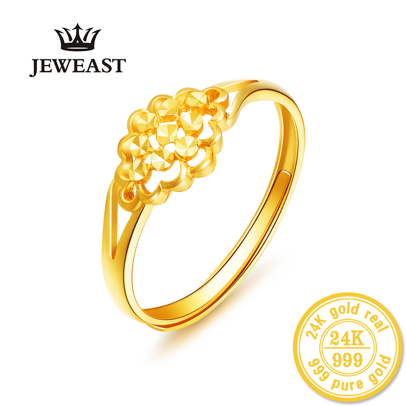 Takı ve Aksesuarları'ten Halkalar'de HMSS 24K Altın yüzük Gerçek katı au999 altın boyutlandırılabilir trendy yeni sıcak çiçekler açıklıklar kadın kuyruk halka içi boş 2019 sıcak SATıŞ IYI'da  Grup 1
