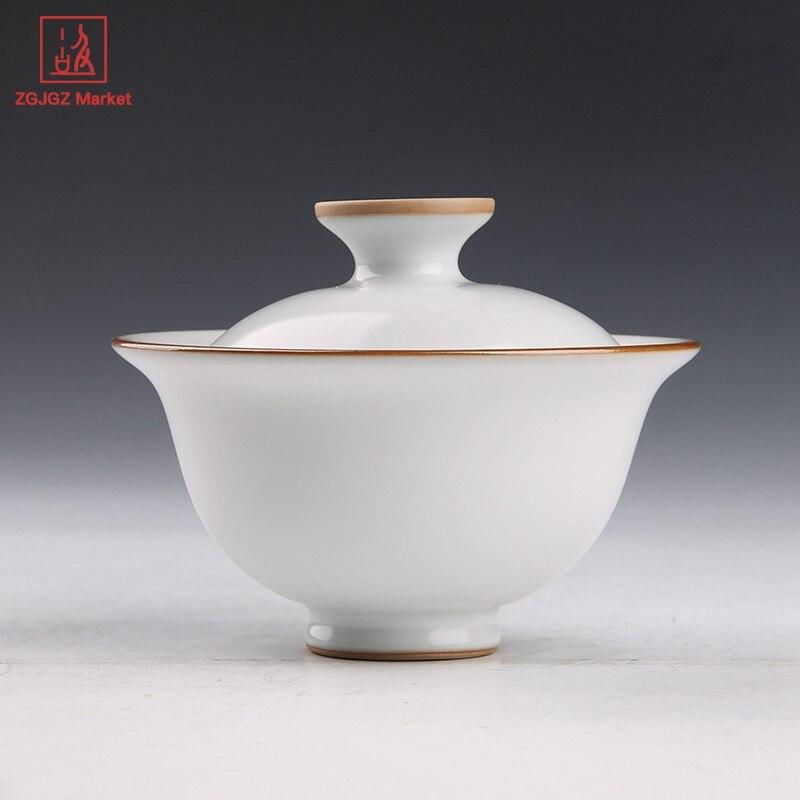 Authentique Ru four Gaiwan vitré en céramique tasse à thé à la main Set pour la cérémonie du thé