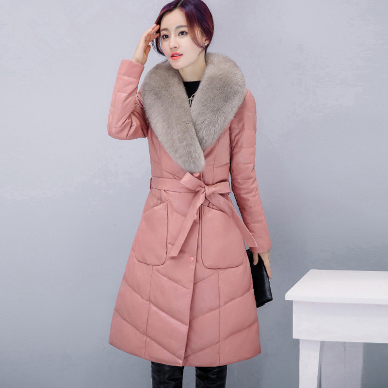 New winter womens down jacket fur leather overcoats maternity winter clothing pregnancy jacket warm clothing high quality 16968