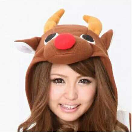 The lovely chocolate Christmas deer cartoon animal conjoined pajamas couple in the family of orange deer
