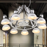IWHD American Style 9Heads LED Pendant Lights Loft Industrial Vintage Pendant Lamp Angle Adjustable Remote Control Lamparas