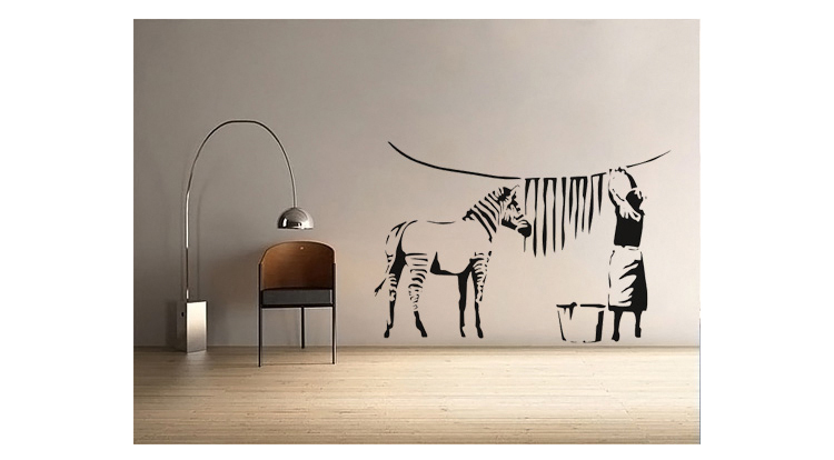 Aliexpresscom Buy Free ShippingBanksy Zebra Stripes Wash Vinyl - Zebra stripe wall decals