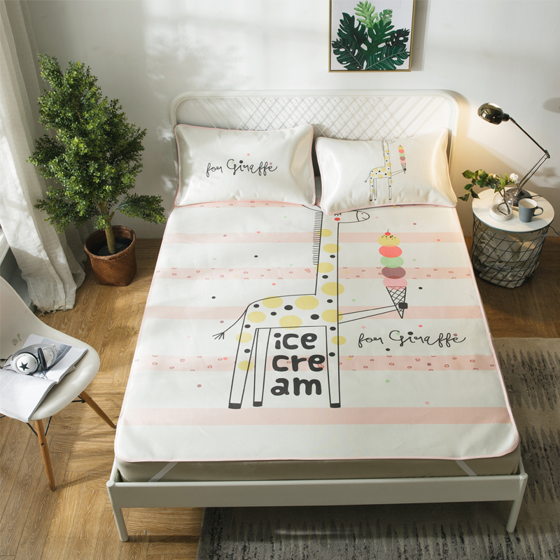 Giraffe Ice Cream Summer Cool Mat Kit Bed Protection Pad Polyester Fabric 2/3Pcs Pillow Cases Twin Full Queen Mattress Pad