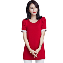 2017 New Style Crochet Lace Patchwork Short Sleeve Cotton Tees Tops Women Summer Plus Size Casual T shirt Elegant Female Clothes