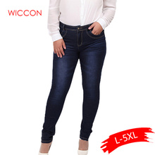 2019 Spring autumn fashion brand plus size jeans blue color casual denim pants woman pencil jean