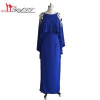 Real Photo 2016 de Soirée De Bal Robes Deux Pièces Bleu Royal Spandex Dentelle D'or Longue Dubai Vintage Avec Châle robes de formatura