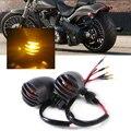2 шт. Новый 12 В Мотоцикл Металл Черный Пуля Решетка Света Сигнала Поворота Мигалка Индикатор для Harley BOBBER Кафе-гонки Двигателя Вертолет
