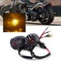 2pcs New 12V Motorcycle Metal Black Bullet Grille Turn Signal Light Blinker Indicator for Harley BOBBER Cafe-race Chopper Motor