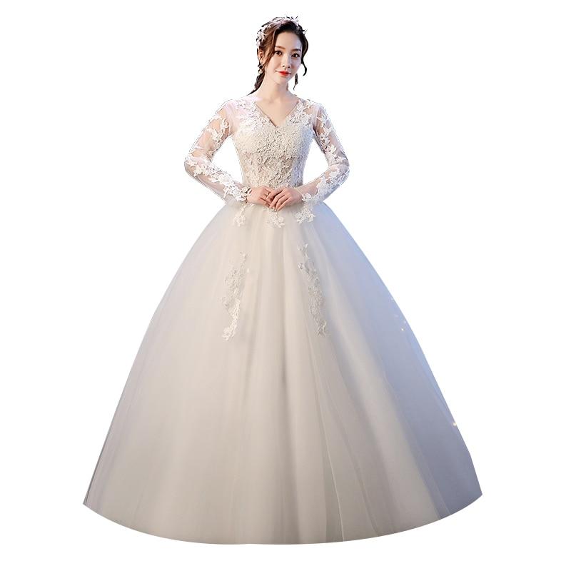 Bride's Lace Up Wedding Dress Retro-vintage V-neck Ball Gown Wedding Dresses Princess Bridal Dresses
