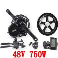 Free shipping 48v 750w 8fun/bafang motor C965 LCD BBS02B latest controller crank Motor eletric bicycles trike ebike kits