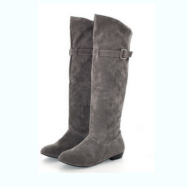 Autumn Winter Women Boots Ladies Knee High Boots Flat Long High Boot Shoes Woman Big Size 35 43 Black Gray Red Brown Botas Dx621-In Knee-High -1379