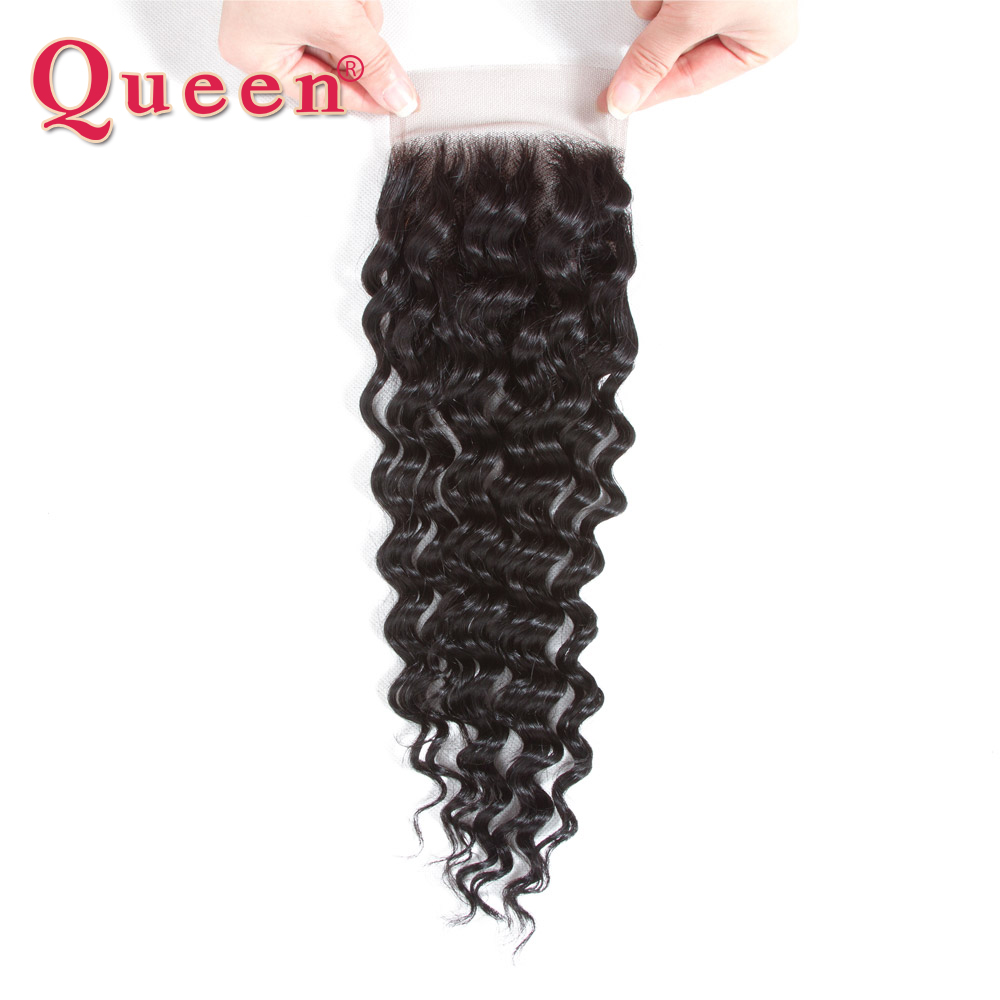 Queen Hair Deep Wave Bundles With Lace Closure Brazilian Human Hair Weave 3/4 Bundles With Closure 100% Remy Hair Extensions-in 3/4 Bundles with Closure from Hair Extensions & Wigs    3
