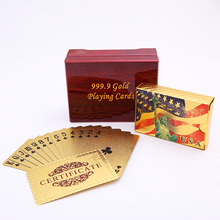 USA Playing Cards Pack Into Wooden Box Waterproof Plastic Durable Creative Poker Card Gift
