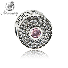 2016 Hot Sale Authentic 925 Sterling Silver Bead Charm With Pink Crystal CZ Fit For Original Bracelets Diy Fine Jewelry Making