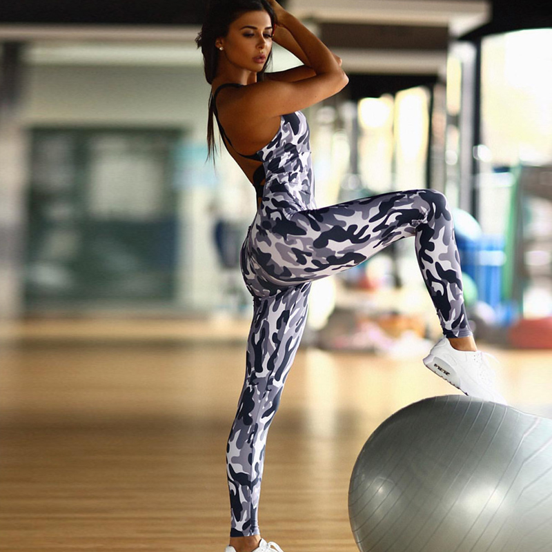 Light Camouflage Color Slim   Jumpsuit   Sexy Backless Women   Jumpsuits   Sporting Fitness Styles Elastic Workout Sleeveless Clothes