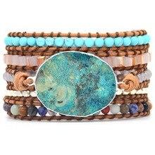 Ocean Blue Stone Connector For Boho 5X Leather Friendship Wrap Bracelet Chic Jewelry Bohemian Bracelet Making chic faux leather adorn bracelet