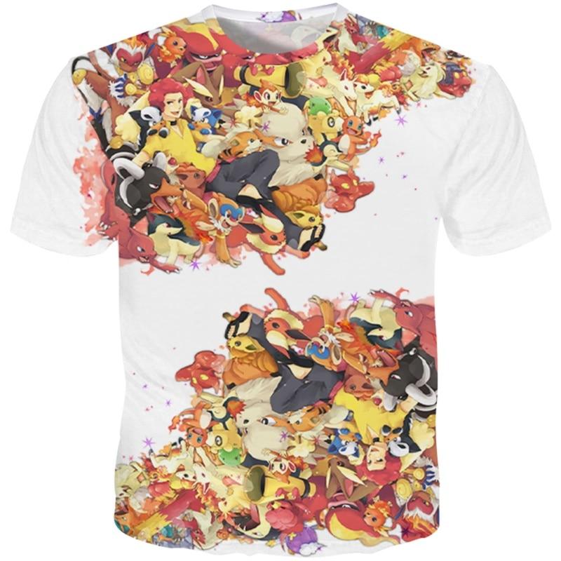YOUTHUP New 3D Printed Cute Anime Fire Pokemons T-shirts Men Short Sleeves Casual Tops Cool Streetwear Tshirts Harajuku AS 5XL