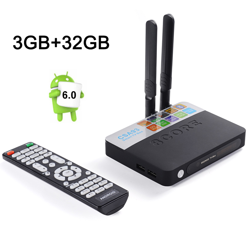 Mejor CSA93 Amlogic S912 Octa Core Android 6.0 TV Box RAM 3 GB ROM 32 GB 2.4G y