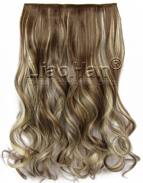 Long Curly Clip In Brown Mixed Blonde Hair Extensions One Piece Clip
