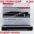 DS-7608NI-I2/8 P versão Inglês 12MP 8CH 8POE NVR com 2 sata portas, incorporado Plug & Play NVR H.265