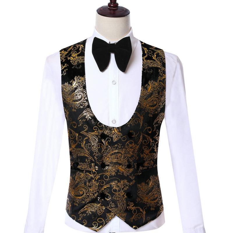 Wedding Waistcoat Double Breasted Velvet Men's Fashion Design Suit Vest Black Gold Floral Party Men's Business Groom Suit Vest