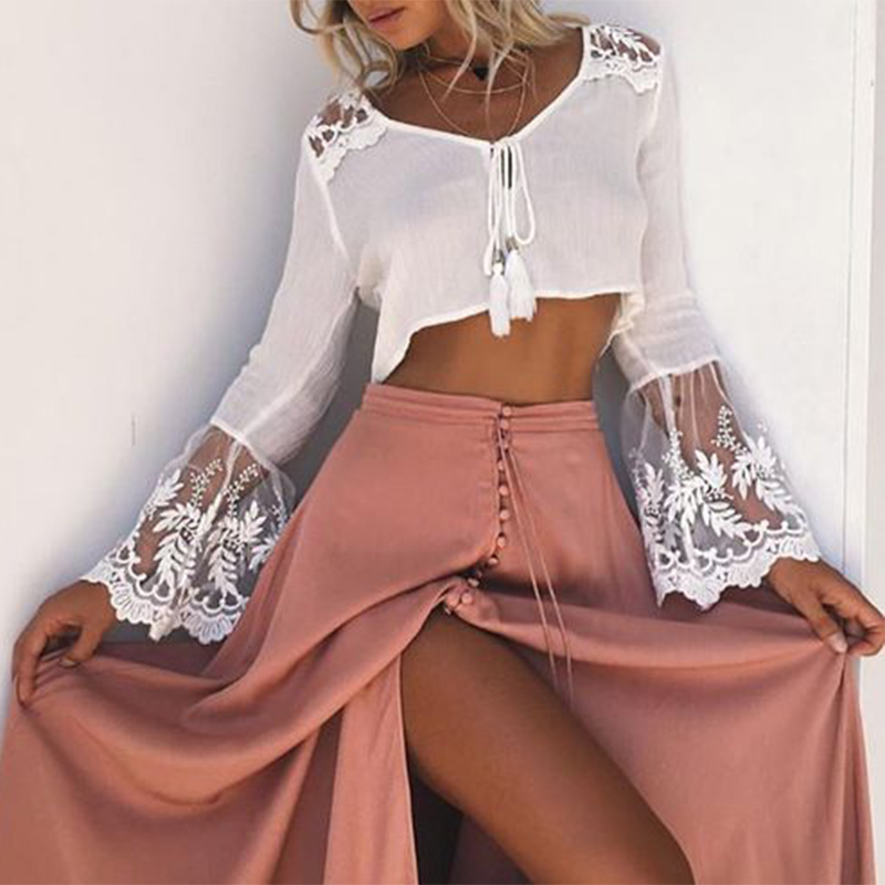 Long Sleeve Womens Boho Shirt White <font><b>Lace</b></font> Blouse 2017 Summer Ladies Dentelle Mesh <font><b>Tops</b></font> Femme Blusas Female Tunic Sexy <font><b>Crop</b></font> <font><b>Tops</b></font>