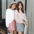 2017 Autumn and Winter Imitation Mink Cashmere Sweater Women KoreanDrop-shoulder Loose Knitted Pullover Pink White